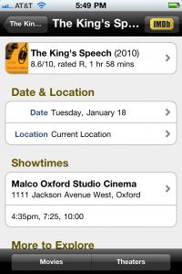 IMDB on an iPhone
