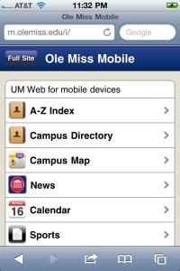 Ole Miss Mobile ~ m.olemiss.edu