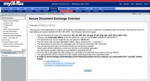 Screenshot of Secure Document Exchange application