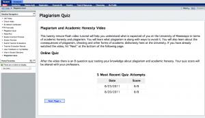 Plagiarism Quiz in myOleMiss