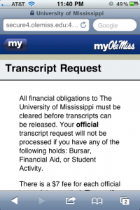 Mobile friendly Transcript Request service