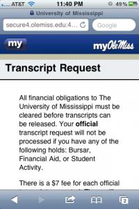 Mobile friendly Transcript Request service