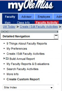 Faculty Activity Menu