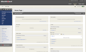 Newly redesigned Blackboard course interface