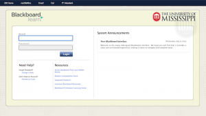 Newly redesigned Blackboard login page