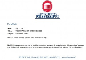 Sample message for UM Memo message type