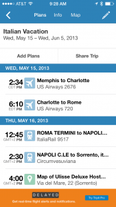 TripIt screen shot showing itinerary