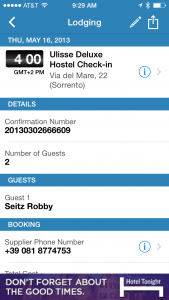 Figure 3. Robby's TripIt screen shot showing hotel info